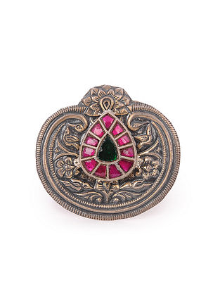 Pink Green Tribal Silver Adjustable Ring