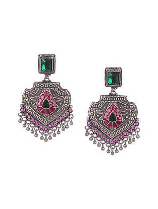 Green Pink Tribal silver Earrings