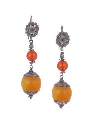 Red Rust Tribal Silver Earrings