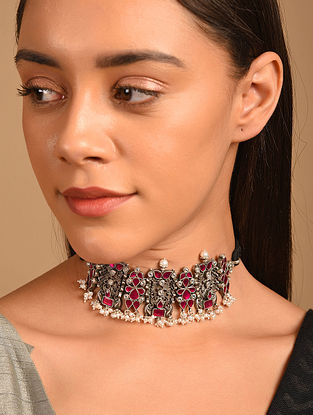 Pink Tribal Silver Necklace with Pearls