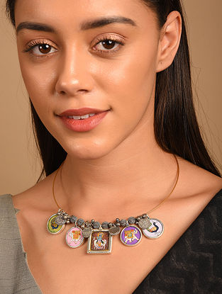 Handpainted Tribal Silver Hasli Necklace