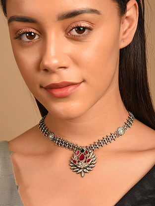 Pink Tribal Silver Necklace