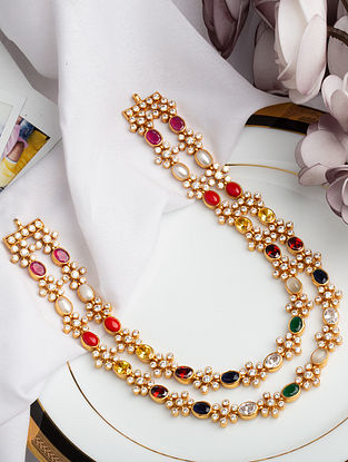 Multistone Gold Plated Silver Necklace