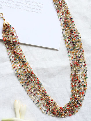 Multistone Beaded Silver Necklace