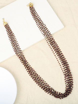 Maroon Beaded Silver Necklace