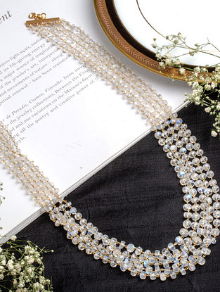 White Beaded Silver Necklace