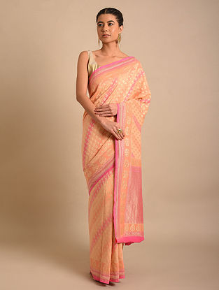 Peach-Pink Handwoven Benarasi Chiffon Muga Silk Saree