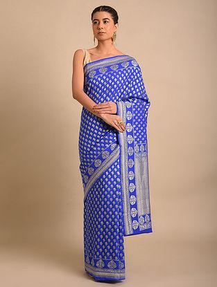 Blue Handwoven Benarasi Chiffon Muga Silk Saree
