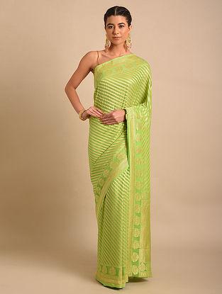Green Handwoven Benarasi Chiffon Saree