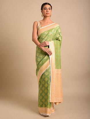 Green Handwoven Benarasi Chiffon Tussar Saree