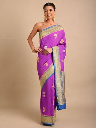 Purple-Blue Handwoven Benarasi Chiffon Muga Silk Saree