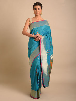 Blue Handwoven Benarasi Silk Linen Saree
