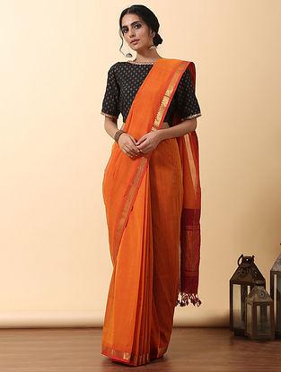 Orange Handwoven Mangalgiri Cotton  Saree