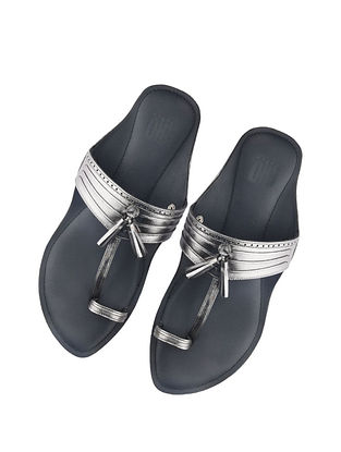 Silver Handcrafted Leather Kolhapuri for Men