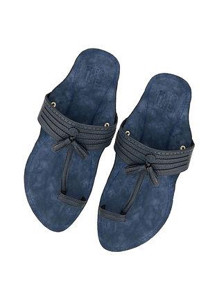 Navy Blue Handcrafted Leather Kolhapuri for Men