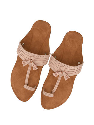 Peach Handcrafted Leather Kolhapuri for Men