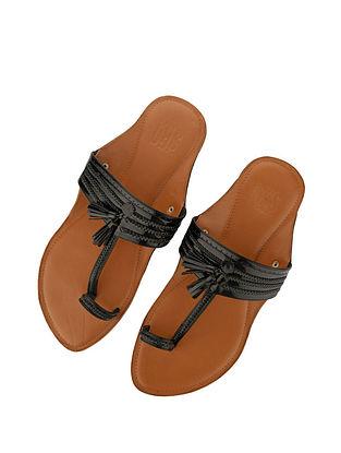 Black Handcrafted Leather Kolhapuri for Men