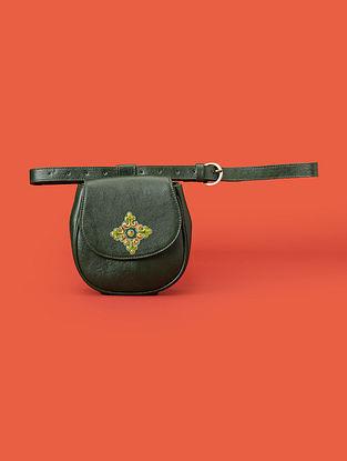 Green Handcrafted Genuine Leather Belt Bag