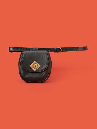Black Handcrafted Genuine Leather Belt Bag