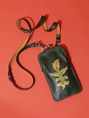 Green Handcrafted Genuine Leather Sling Bag