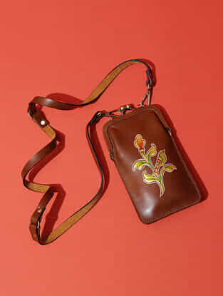 Tan Handcrafted Genuine Leather Sling Bag
