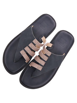 Beige Blue Handcrafted Leather Flats for Men