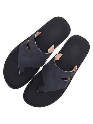 Black Handcrafted Leather Flats for Men