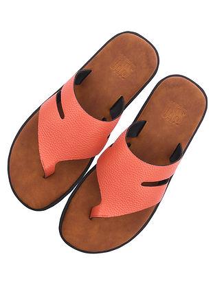 Orange Handcrafted Leather Flats for Men