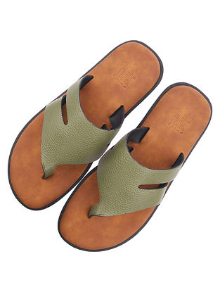 Olive Green Handcrafted Leather Flats for Men