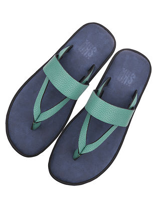 Green Handcrafted Leather Flats for Men