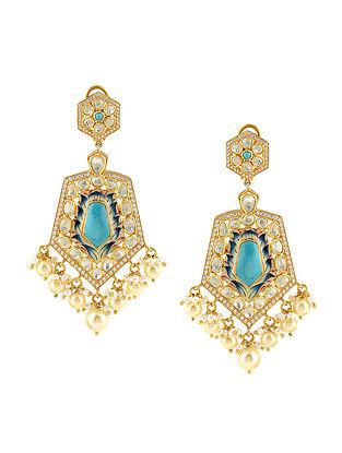 Bue Gold Tone Kundan Silver Earrings
