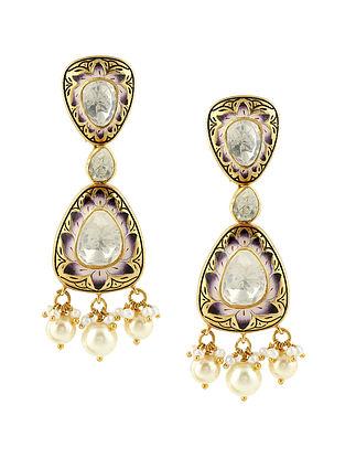 Blue Gold Tone Kundan Silver Earrings
