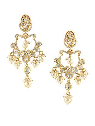 Gold Tone Kundan Silver Earrings
