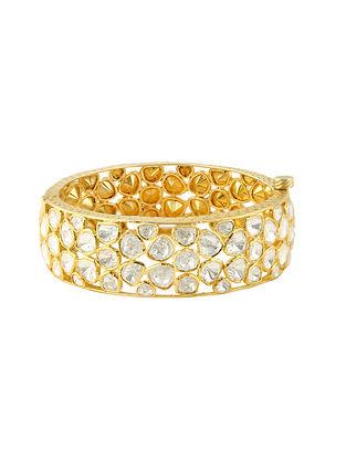 Gold Tone Kundan Silver Bangle (Size: 2/4)