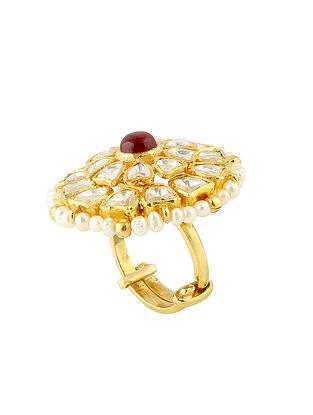 Maroon Gold Tone Kundan Silver Adjustable Ring