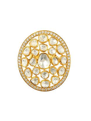 Gold Tone Kundan Silver Adjustable Ring