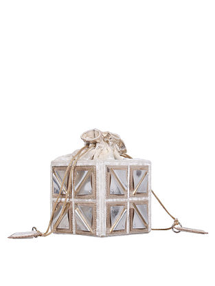White Handcrafted Velvet Leather Potli