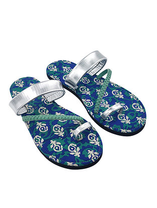 Silver Dabu Printed Cotton Leather Flats