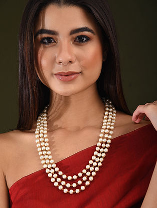 White Pearl Beaded Layered Necklace