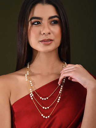 White Gold Tone Pearl Beaded Layered Necklace