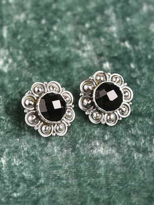 Silver Earrings With Black Onyx