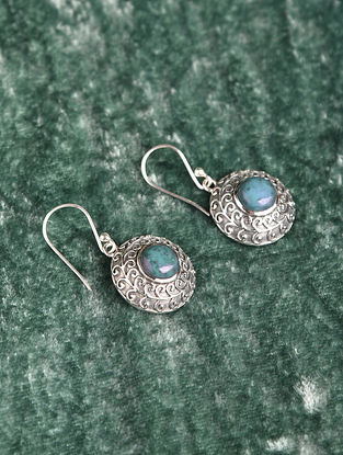 Silver Earrings With Composite Turquoise