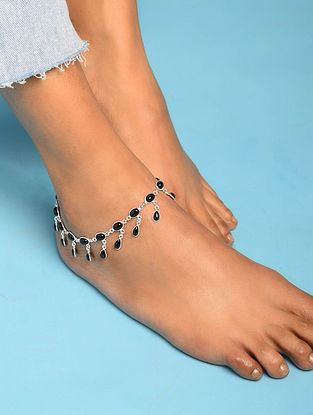 Silver Anklet With Black Onyx