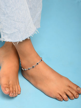 Silver Anklet With Garnet