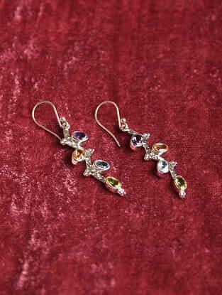 Silver Earrings With Multigem