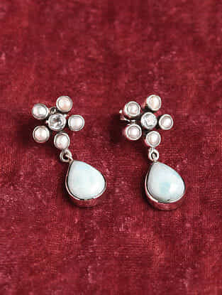 Blue Topaz Silver Earrings With Freshwater Pearls