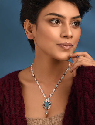 Blue Topaz Silver Necklace With Chalcedony