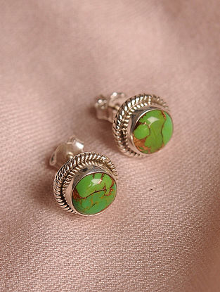 Green Silver Earrings with Turquoise