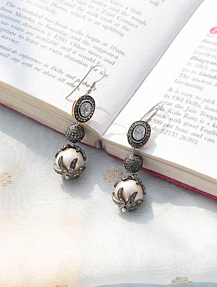 Silver Diamond Earrings with Pearls