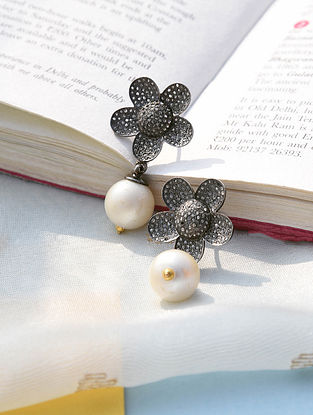 Silver Diamond Earrings with South Sea Pearls